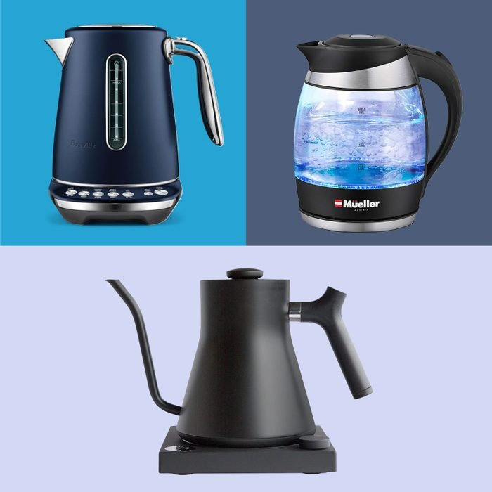 Three electric kettles superimposed on various shades of blue