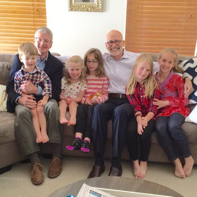 Larry Best, his husband Kori, and their grandchildren