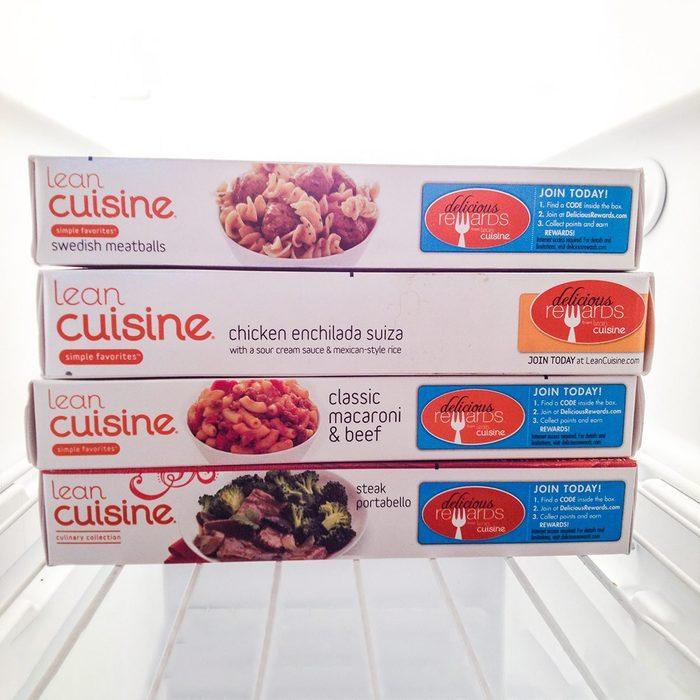 Lean Cuisine boxes in a freezer