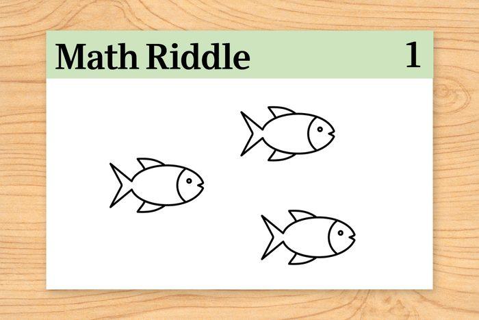 Three fish on math riddle 1 flashcard