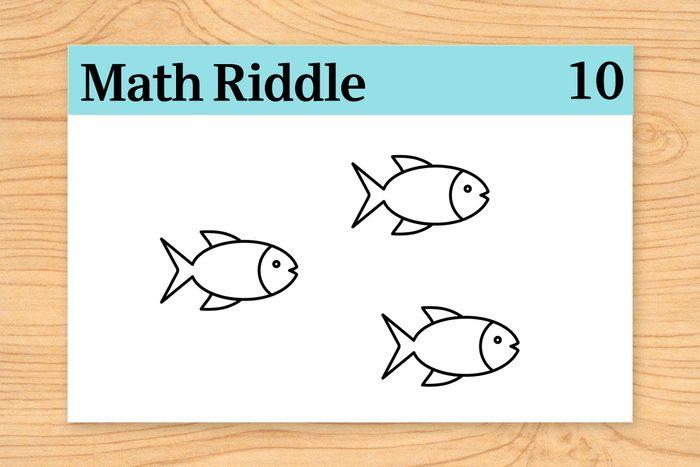 three fish on math riddle flashcard