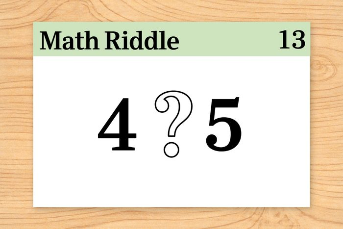 digits four and five separated by a large question mark on math riddle flashcard