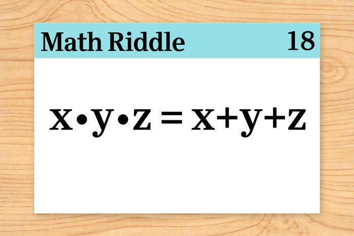 x times y times z = x plus y plus z on math riddle flashcard