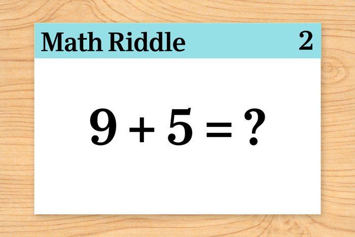 9 +5 = ? on math riddle flashcard