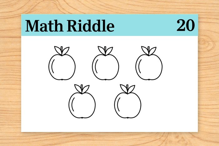 Five apples on math riddle flashcard