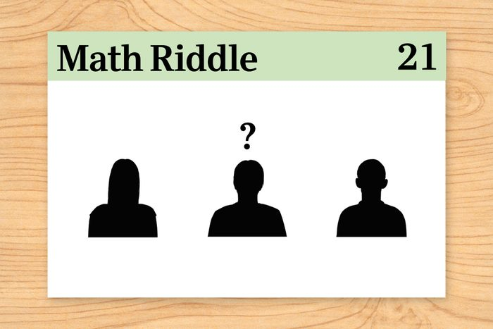 three silhouettes, one with a question mark hovering over it on math riddle flashcard