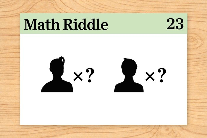 """two silhouettes with """"x?"""" on math riddle flashcard"""