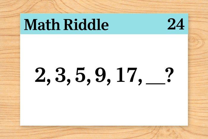 """""""2, 3, 5, 9, 17, _?"""" on math riddle flashcard"""