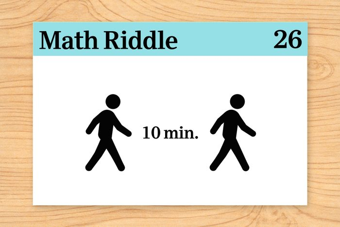 """two people walking with """"10 min"""" between them on math riddle flashcard"""