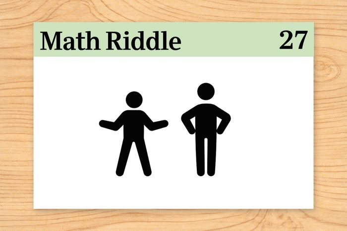 two human figures on math riddle flashcard