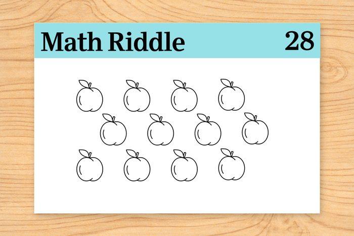 12 peaches on math riddle flashcard