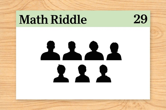 seven figure silhouettes on math riddle flashcard