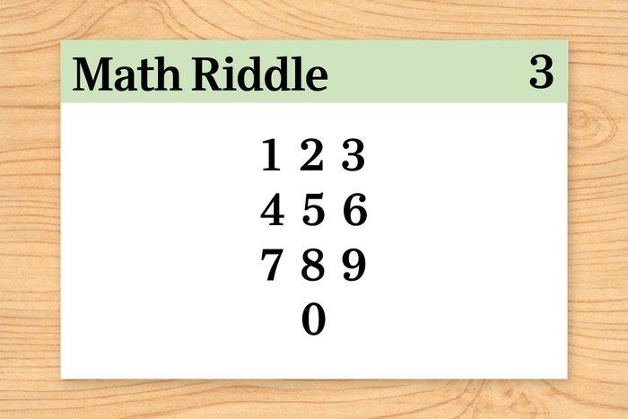 digits 1 through 0 on math riddle flashcard