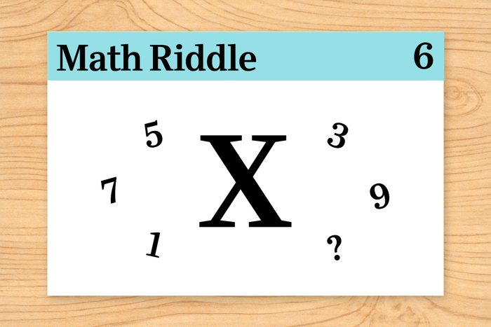 """large """"X"""" surrounded by odd numbers on math riddle flashcard"""