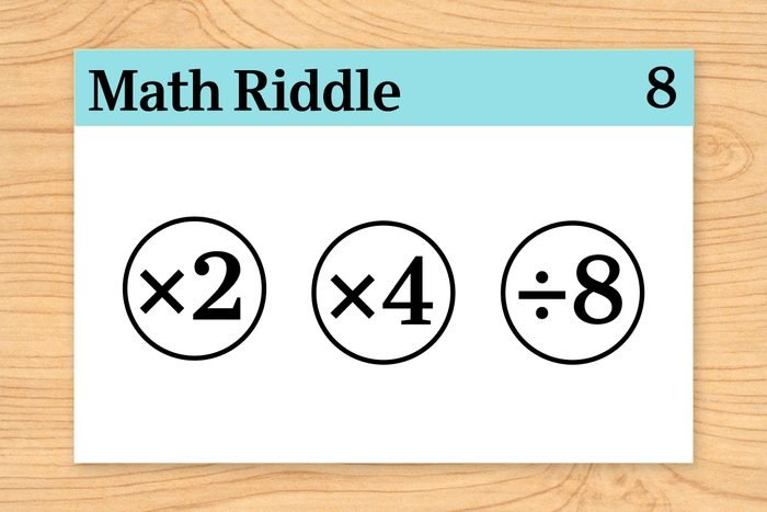 """""""multiplied by 2,"""" """"multiplied by 4"""" and """"divided by 8"""" on math riddle flashcard"""