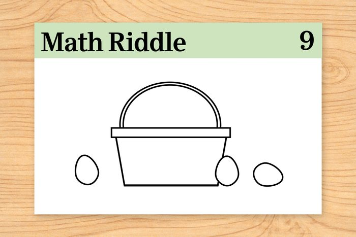 basket with 3 eggs on math riddle flashcard