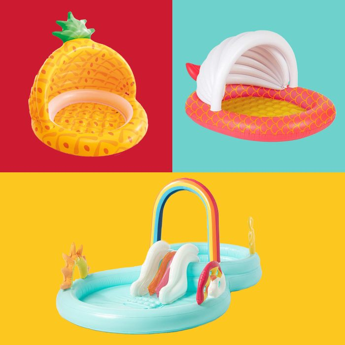 Three inflatable pools (listed and linked below) on multicolor background