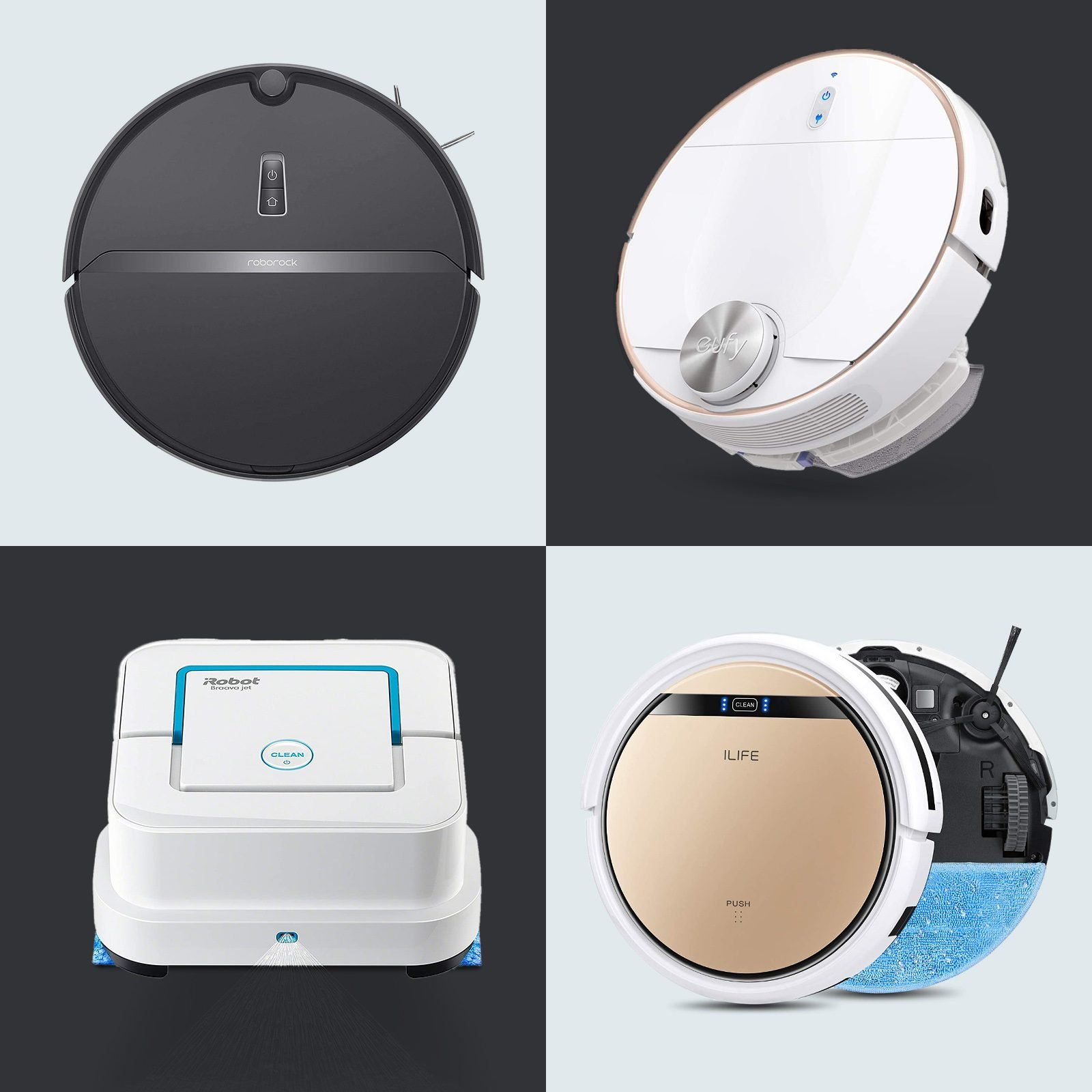 Robot vacuums on grid background