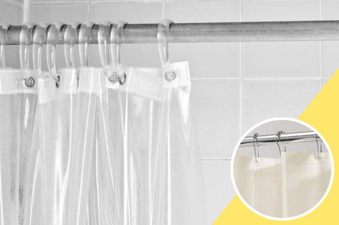 old shower Curtain with inset of new shower curtain to buy
