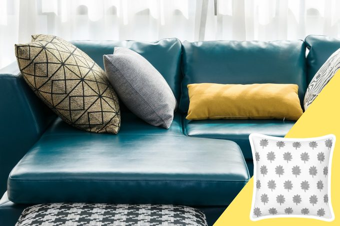 Throw Pillows with inset of new throw pillow to buy