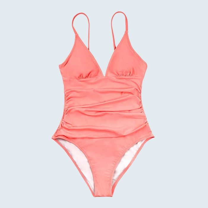 Cupshe Bright Day Shirring One-Piece Tummy Control Swimsuit