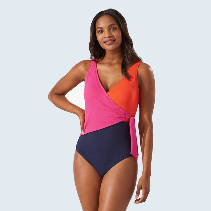 Tommy Bahama Island Cays Colorblock Wrap-Front One-Piece Swimsuit