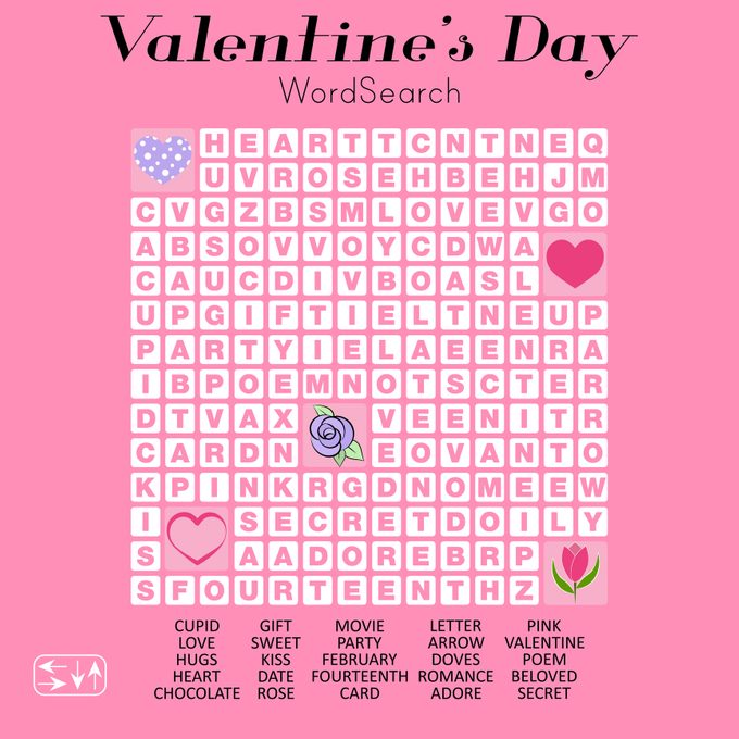 Valentine's Day Word Search Puzzle. Educational Game For Children.