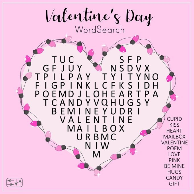 Valentine's Day Word Search Puzzle With Heart.