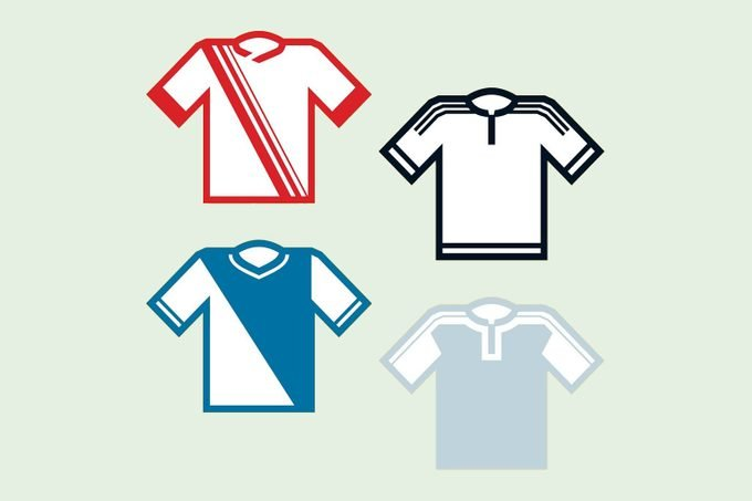 Four shirts with various color accents: red, blue, black, and gray