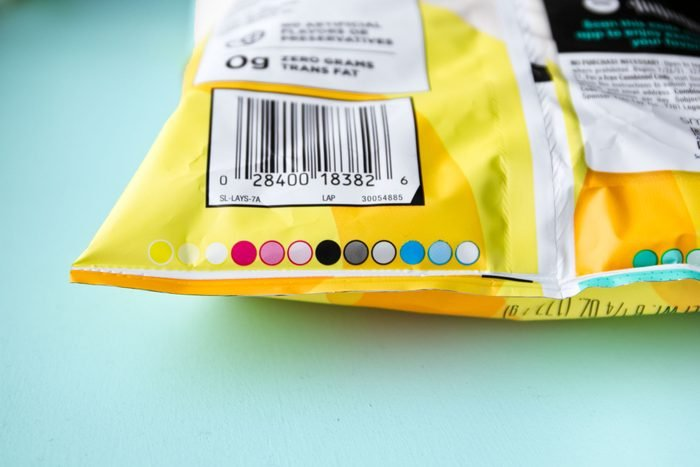 rainbow circles on a chip bag