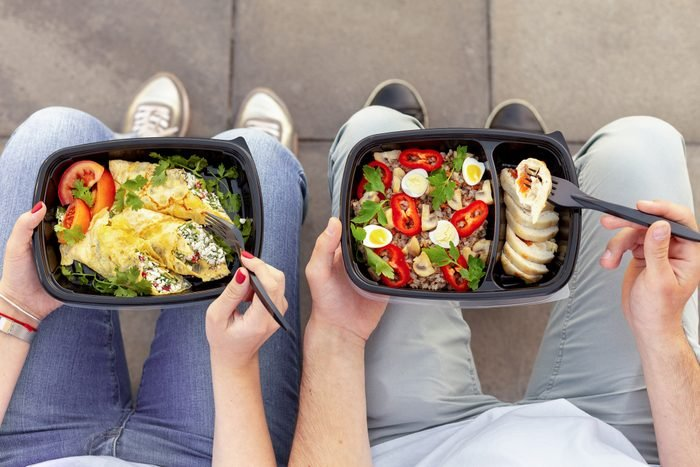 Healthy lunch outdoor, top view