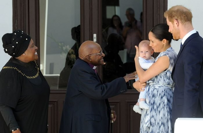 meghan markle and prince harry with their son archie meeting Archbishop Desmond Tutu and his wife Leah at the Tutu Legacy Foundation in Cape Town South Africa