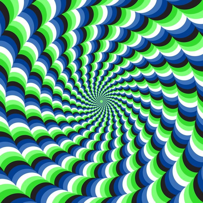 Optical Motion Illusion Vector Background. Blue Green Wavy Spiral Stripes Move Around The Center.