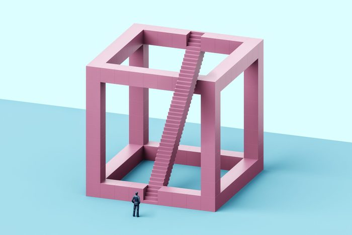 Impossible cube with impossible staircase
