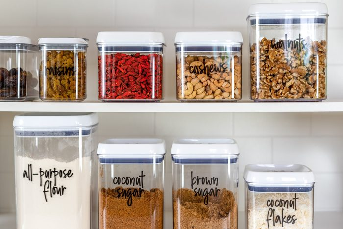 Neatly organized transparent canisters for baking ingredients