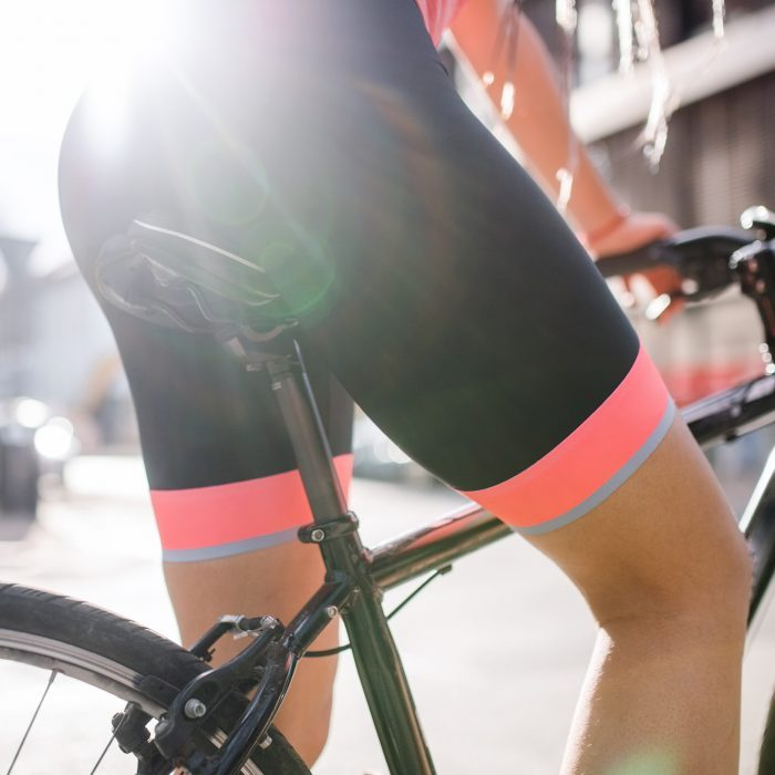 close up of woman's shorts while cycling outdoors