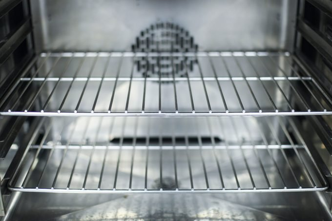 A close-up of the interior of a clean oven