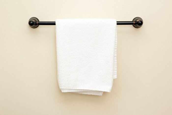 Towel hanging on a rack.