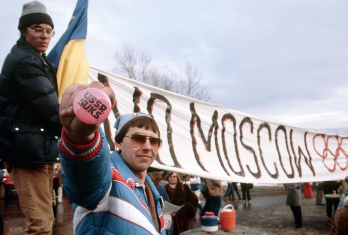 Demonstrators at 1980 Olympics
