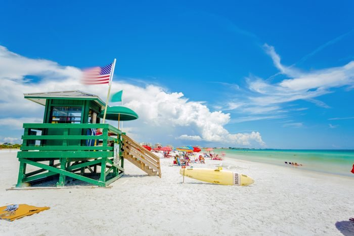 A lifeguard tower at an idyllic beach in a sunny summer day. Siesta Key beach at Sarasota, Florida