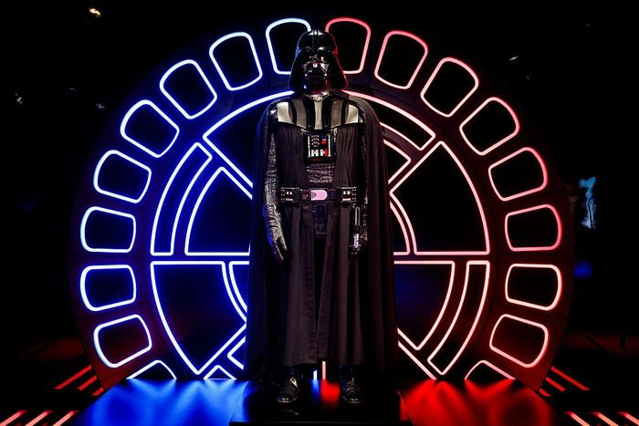 An original Darth Vader costume is displayed at the Star Wars Identities exhibition at The O2 Arena
