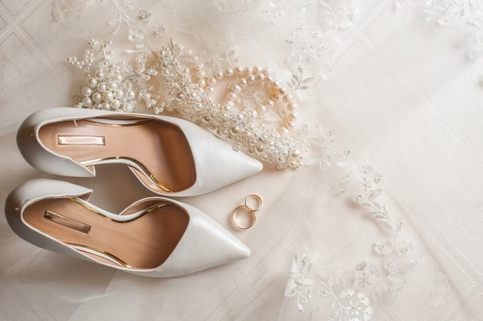 High Angle View Of Shoes And Jewelry