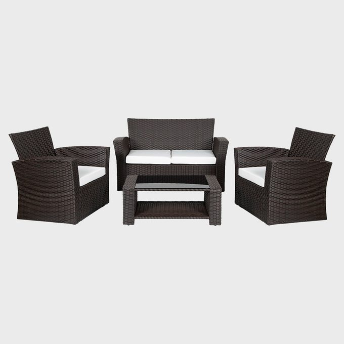 Highland Dunes Alfonso Wicker Rattan 4 Person Seating Group With Cushions