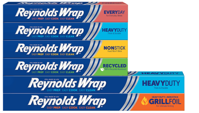 Reynolds Wrap Group Image with various color coded boxes of aluminum foil