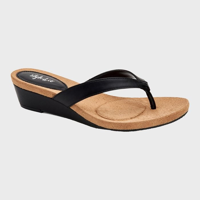 Style And Co Haloe2 Wedge Thong Sandals