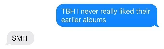 text exchange using TBH and SMH abbreviations