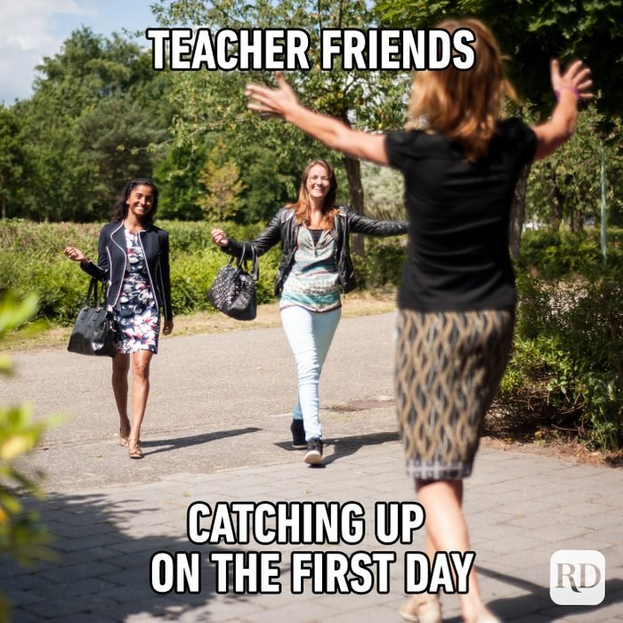 Teacher Friends Catching Up On The First Day