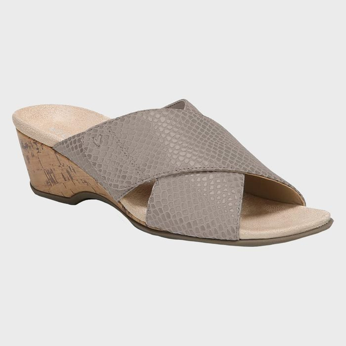 Vionic Letitia Snake Embossed Wedge Slide Sandal