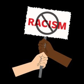 No Racism Protest Banner For Protest,against Racial Discrimination Of Dark Skin Color. Support For Equal Rights Of Black People