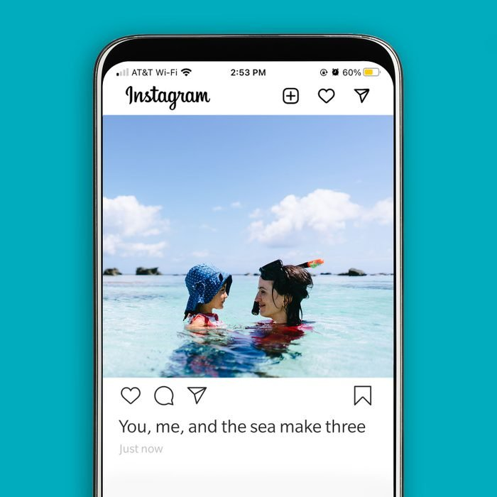 instagram screenshot displaying a mother and child playing in the ocean